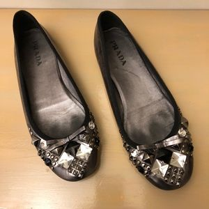 Prada Metallic Gunmetal Jeweled Ballet Flats